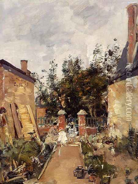 Madame S with Her Children in Their Garden at Trouville Oil Painting - Eugene Boudin