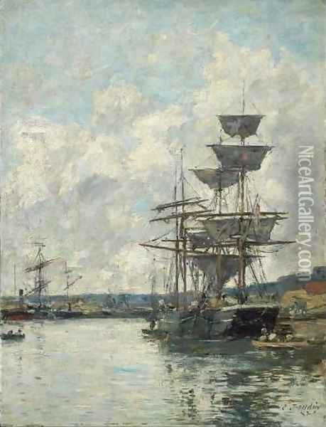Ships at Le Havre Oil Painting - Eugene Boudin