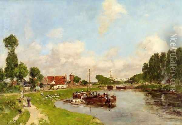 Saint-Velery-sur-Somme, Barges on the Canal Oil Painting - Eugene Boudin