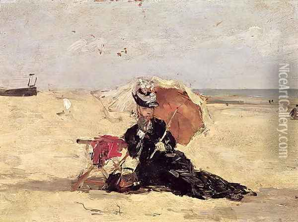 Woman with a Parasol on the Beach 1880 Oil Painting - Eugene Boudin