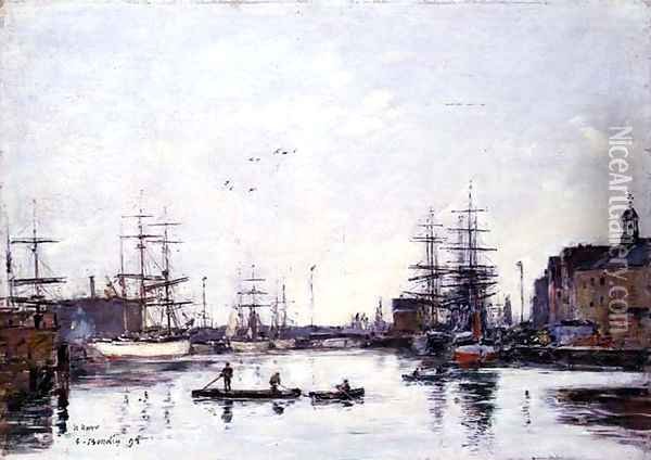 The Basin of the Barre, Le Havre 1895 Oil Painting - Eugene Boudin
