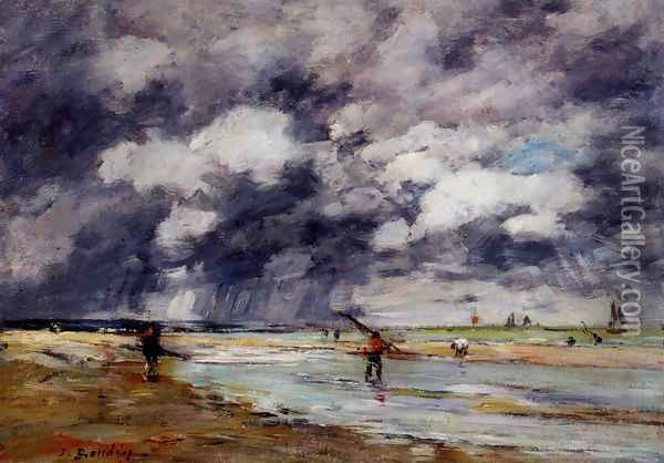Shore at Low Tide, Rainy Weather, near Trouville Oil Painting - Eugene Boudin