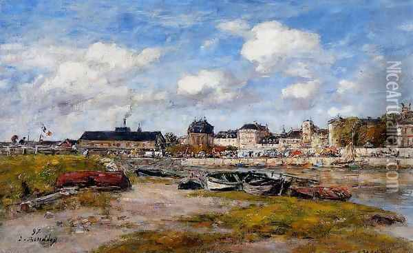 The Port of Trouville, Low Tide Oil Painting - Eugene Boudin