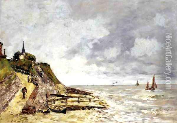 The Shore and the Sea, Villerville Oil Painting - Eugene Boudin