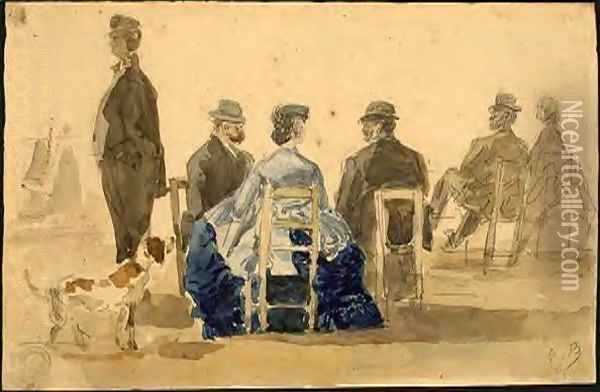 Ladies and Gentlemen Seated on the Beach with a Dog Oil Painting - Eugene Boudin