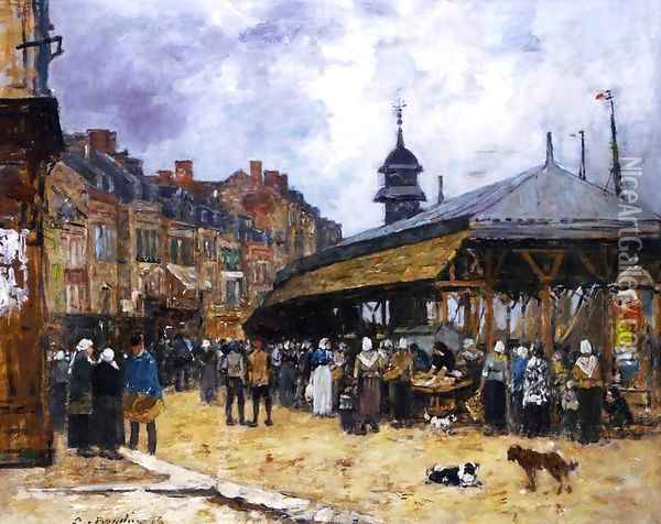 Market at Trouville II Oil Painting - Eugene Boudin