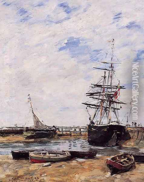 Trouville, Low Tide Oil Painting - Eugene Boudin