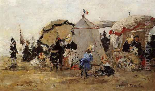 Woman and Children on the Beach at Trouville I Oil Painting - Eugene Boudin