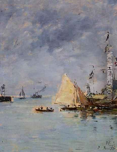 Trouville, the Jettys, High Tide Oil Painting - Eugene Boudin