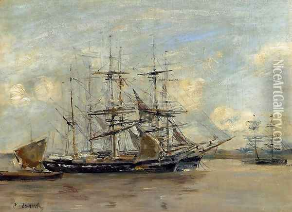 Le Havre, Three Master at Anchor in the Harbor Oil Painting - Eugene Boudin