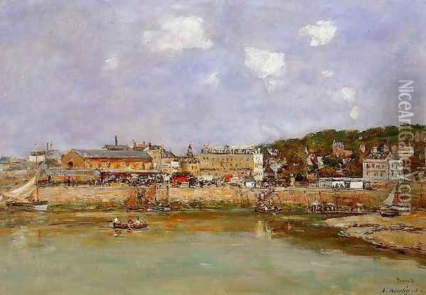The Port of Trouville, the Market Place and the Ferry Oil Painting - Eugene Boudin