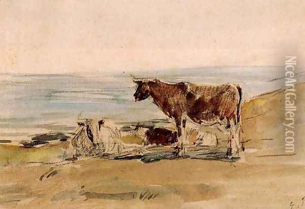 Cows near the Shore Oil Painting - Eugene Boudin