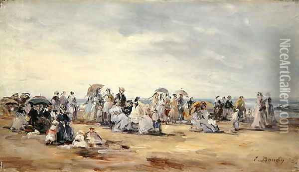 The Beach at Trouville 1873 Oil Painting - Eugene Boudin