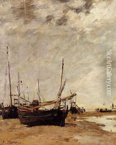 Low Tide, Grounded Sailboats Oil Painting - Eugene Boudin