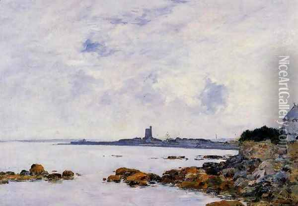 Saint-Vaast-la-Houghe, the Rocks and the Fort Oil Painting - Eugene Boudin