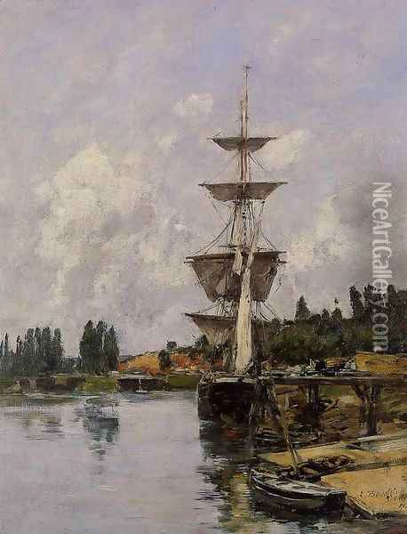 The Canal at Saint-Valery-sur-Somme Oil Painting - Eugene Boudin