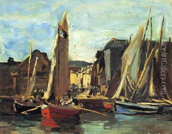The Entrance to the Port of Honfleur Oil Painting - Eugene Boudin