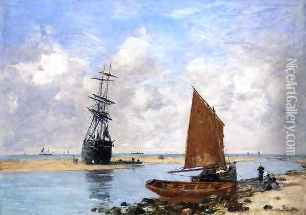 The Trouville Chanel, Low Tide Oil Painting - Eugene Boudin