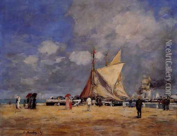 Deauville, on the Jetty Oil Painting - Eugene Boudin