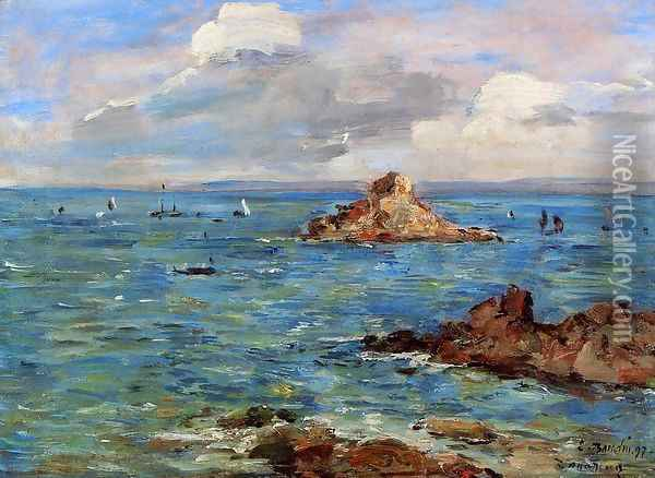 The Sea at Douarnenez Oil Painting - Eugene Boudin