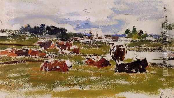 Cows in Pasture I Oil Painting - Eugene Boudin