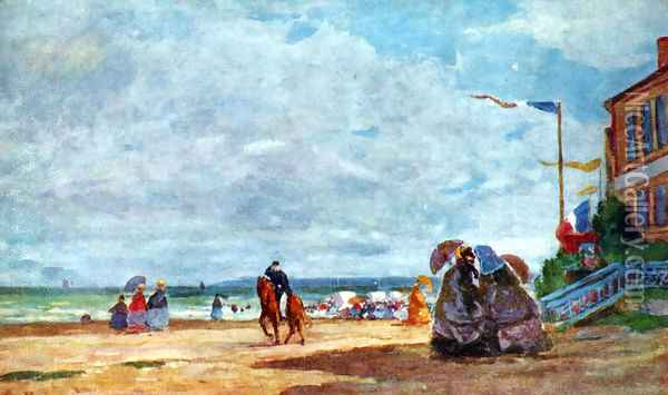 Beach of Trouville 2 Oil Painting - Eugene Boudin