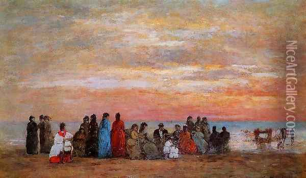 Figures on the Beach at Trouville Oil Painting - Eugene Boudin