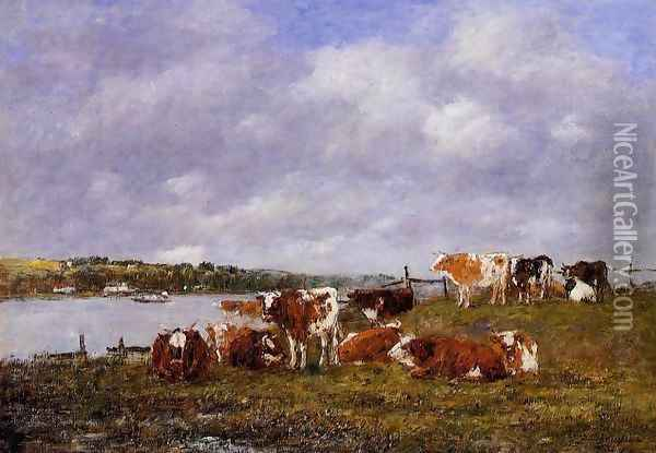 Pasturage, the Valley of the Touques Oil Painting - Eugene Boudin