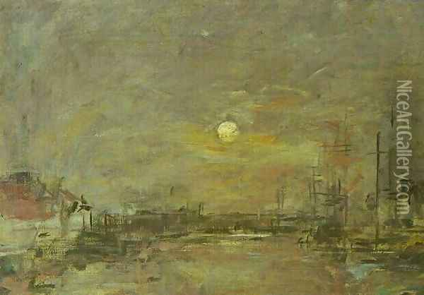 Twilight over the Basin of Le Havre Oil Painting - Eugene Boudin