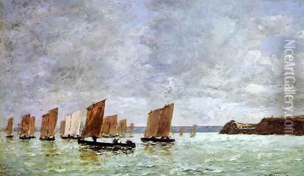 Camaret, Fishing Boats off the Shore Oil Painting - Eugene Boudin