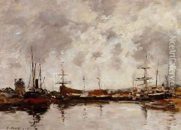 Deauville, the Harbor II Oil Painting - Eugene Boudin