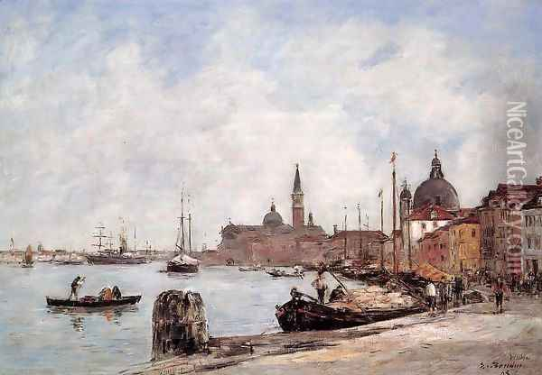 Venice, the Dock of the Guidecca Oil Painting - Eugene Boudin