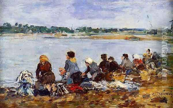 Laundresses on the Banks of the Touques IX Oil Painting - Eugene Boudin