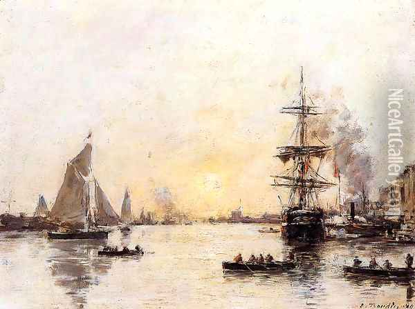 Le Havre, the Outer Port II Oil Painting - Eugene Boudin