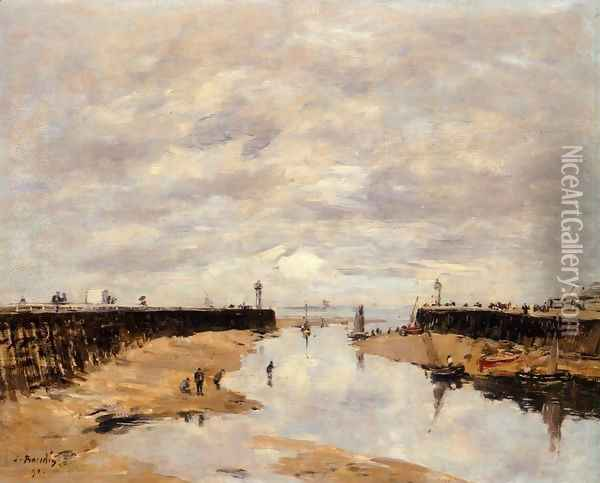 The Jetties, Low Tide, Trouville Oil Painting - Eugene Boudin