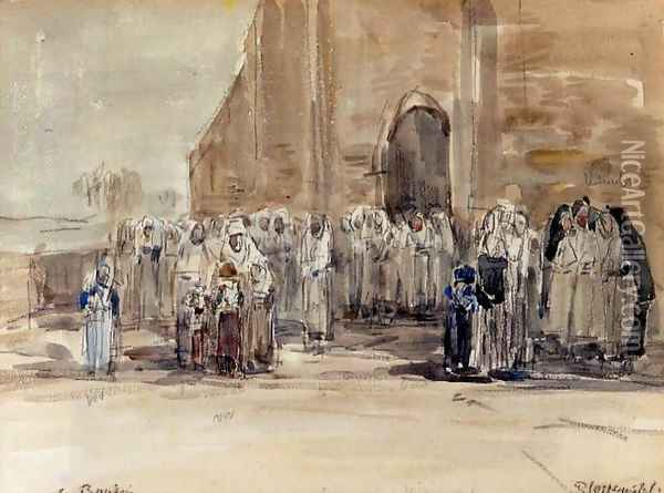 Leaving Mass at Plougastel Oil Painting - Eugene Boudin