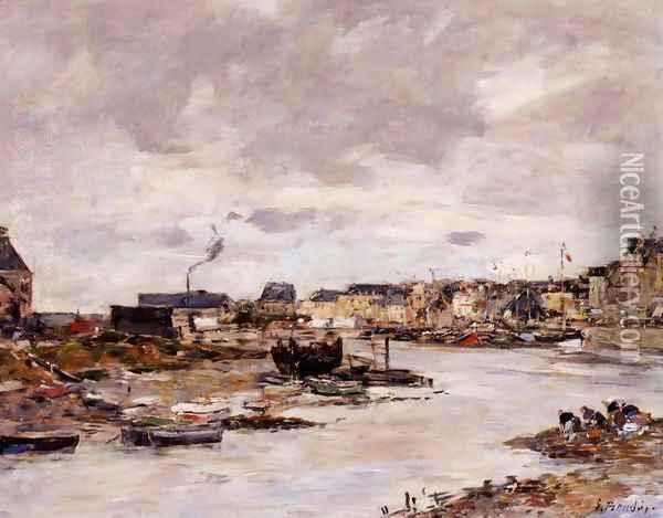 The Inner Port of Trouville at Low Tide Oil Painting - Eugene Boudin