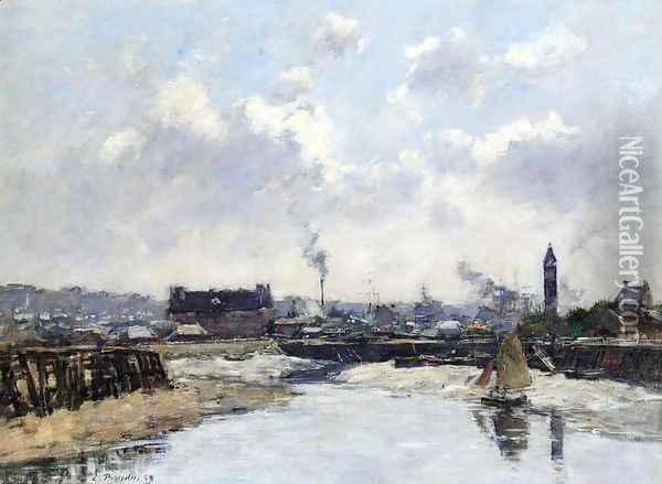 Trouville, the Port, Low Tide, Morning Oil Painting - Eugene Boudin