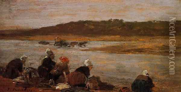 Laundresses on the Banks of the Touques VIII Oil Painting - Eugene Boudin