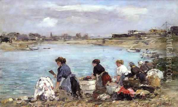 Laundresses on the Banks of the Touques 2 Oil Painting - Eugene Boudin