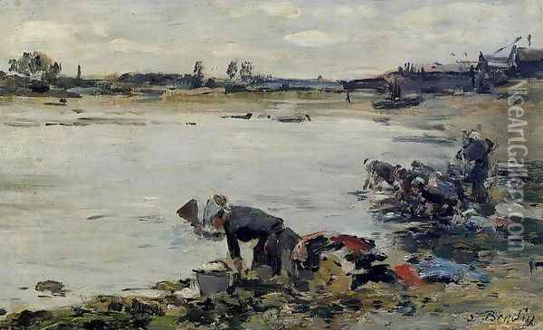 Laundresses on the Banks of the Touques XII Oil Painting - Eugene Boudin