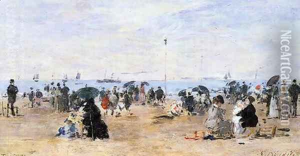 Trouville, Beach Scene 2 Oil Painting - Eugene Boudin