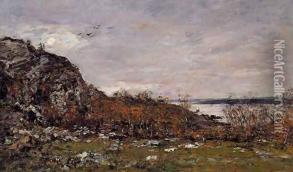 The Mouth of the Elorn in the Area of Brest Oil Painting - Eugene Boudin