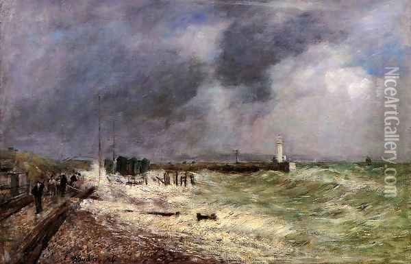 Le Havre, A Gust of Wind at Frascati Oil Painting - Eugene Boudin