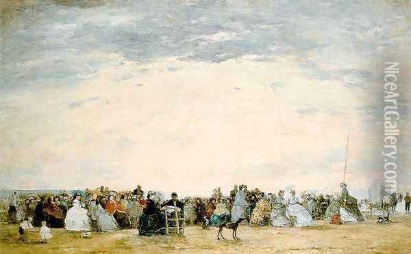 The Beach at Trouville 10 Oil Painting - Eugene Boudin
