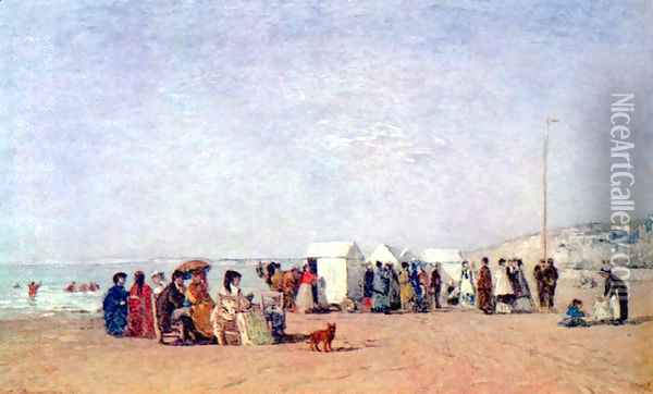 Beach of Trouville Oil Painting - Eugene Boudin