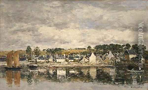 Village by a River Oil Painting - Eugene Boudin