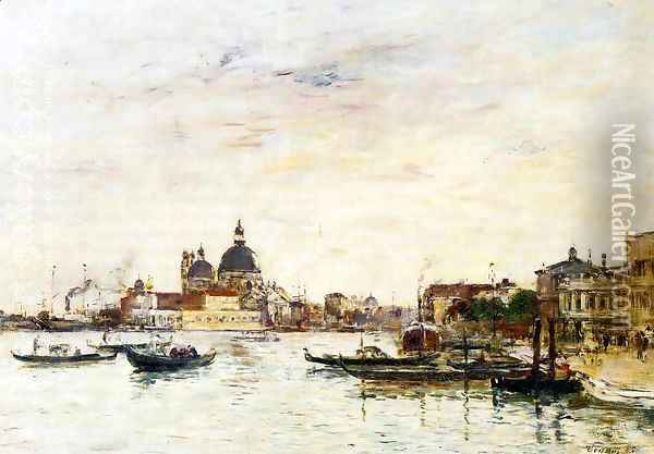 Venice, the Mole at the Entrance of the Grand Canal and the Salute Oil Painting - Eugene Boudin