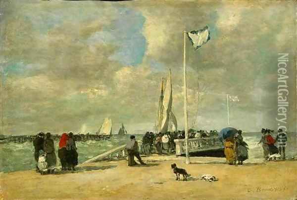 On The Jetty Oil Painting - Eugene Boudin