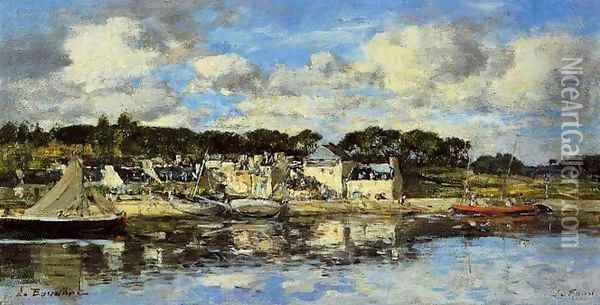 Le Faou: The Village and the Port on the River Oil Painting - Eugene Boudin